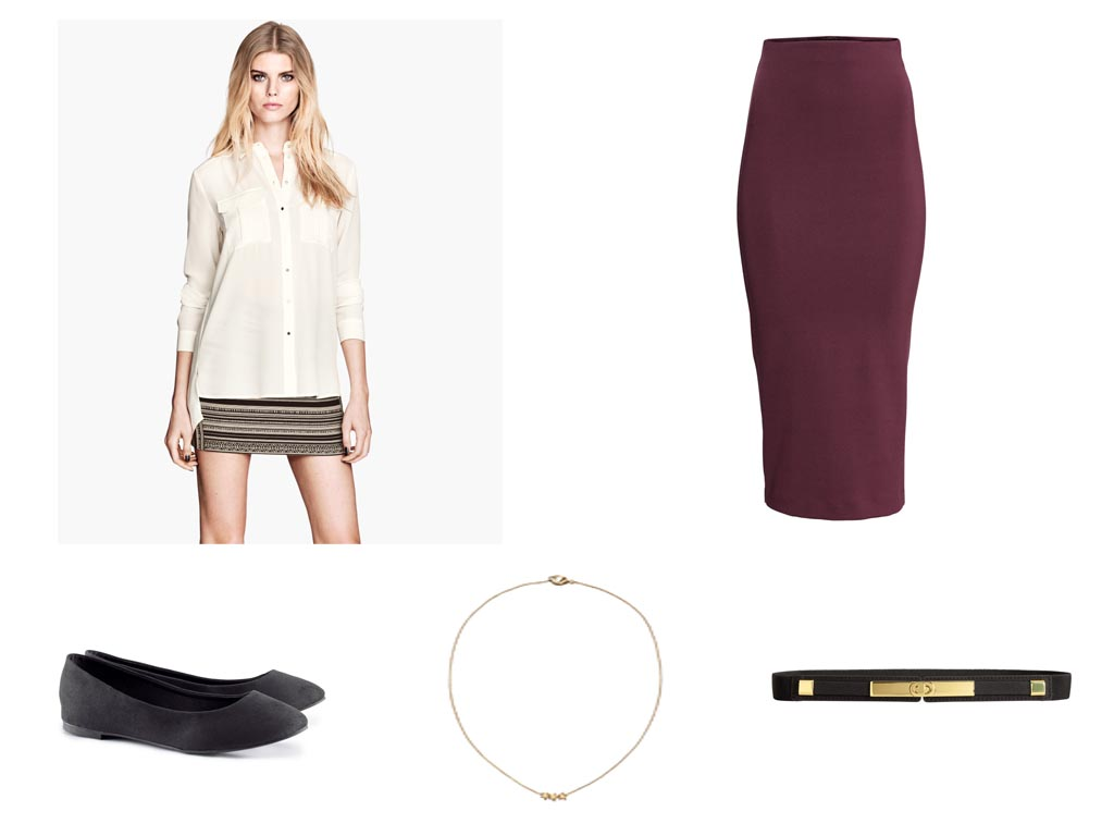 what to wear for an interview red riot h m chiffon blouse berry pencil skirt gold belt gold necklace black pumps